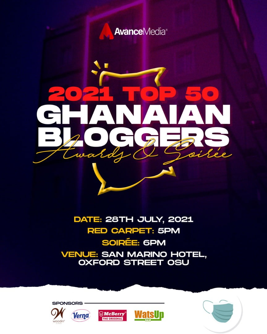 Avance Media, Woodin & Verna to announce 2021 Top 50 Ghanaian Bloggers Ranking, July 28th